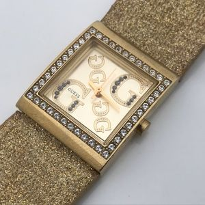 Guess Women Watch Gold Bling Crystal Accents Analo